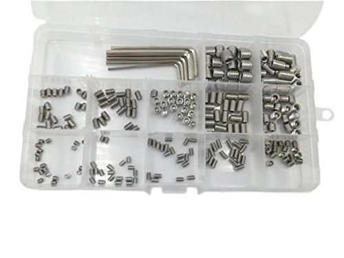 HVAZI 240pcs M3 M4 M5 M6 M8 Metric 304 Stainless Steel Hex Socket Set Screw Assortment Kit