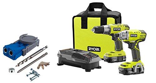 Ryobi P1832 18-Volt ONE DrillDriver and Impact Driver Kit with Kreg R3 Jig Pocket Hole System Bundle