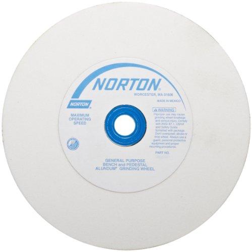 Norton Premium White Alundum Bench and Pedestal Grinding Wheel Type 01 Round Hole Aluminum Oxide 6 Diameter 1 Arbor 1 Thickness 100 Grit 4140 rpm