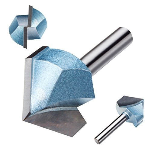 uxcell 1-Inch Cutting Dia 14-Inch Shank 90 Degree Carbide Tipped Double Flute CNC V-Groove Router Bit Cutter