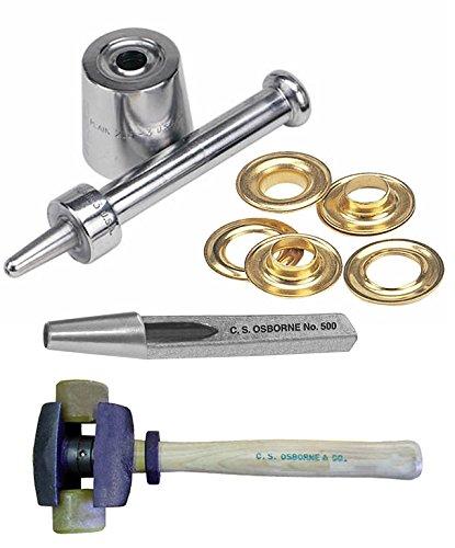 CS Osborne Co Plain Grommet Setter-Size 00 216-00  72ct Brass Plain Grommets G1-00  No 500-00A - Grommet Hole Cutter 316 dia  Split Head HammerNo395-1R