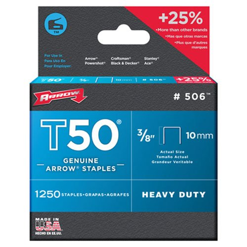 Arrow Fastener 506 Genuine T50 38-Inch Staples 1250-Pack