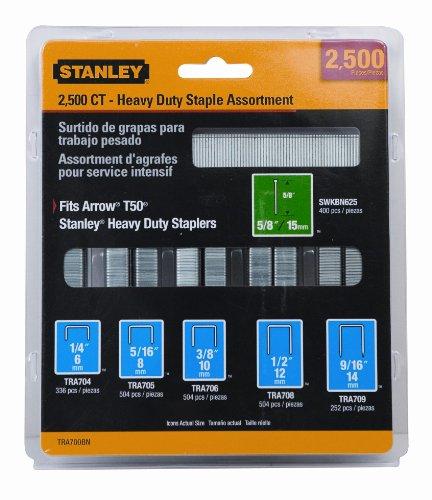 Stanley TRA700BN Heavy-Duty Staple Brad Assortment 2500-Pack