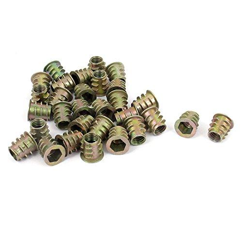 uxcell M6x10mm Hex Socket Screw in Thread Insert Nut 30 Pcs for Wood