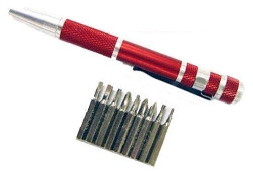 Generic YCUS150720-101 8&10951 der REDr CRV Bits Bits  Magnetic Set of 10pc Precision Bit Holder Screwdriver CRV RED Set of 10pc