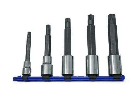 CTA Tools 9350 5-Piece Long Shaft XZN Triple Square Bit Socket Set