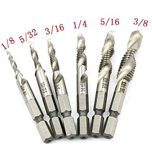 RUIMI Drill Tap Combination Bit Deburr Countersink Screw Hole 14 Hex Shank 6 Pieces 18 - 38