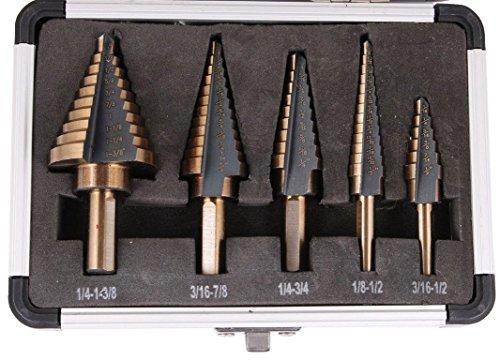YXGOOD 5PCS HSS Cobalt Multiple Hole 50 Sizes Step Drill Bit Set Tools