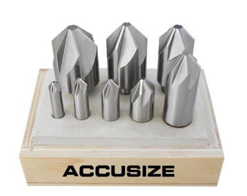 AccusizeTools - 6 Flute HSS Machine Countersink 8 PcsSet 82 Degree Precision Ground 0206-1018