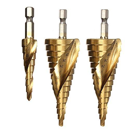 Drillzone 3pcs Hex Shank Spiral Grooved Titanium Coated HSS Step Drill Bit Set ImperialMetric 4-124-204-32mm