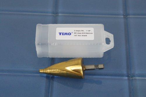 TEMO M2 HSS 2 size spiral flute Titanium step drill 14 hex shank 78 1-18 2B1
