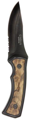Camillus Mountaineer Carbonitride Titanium Fixed Blade Knife with Burlwood Handle Insert BlackBurlwood 4 inch Blade