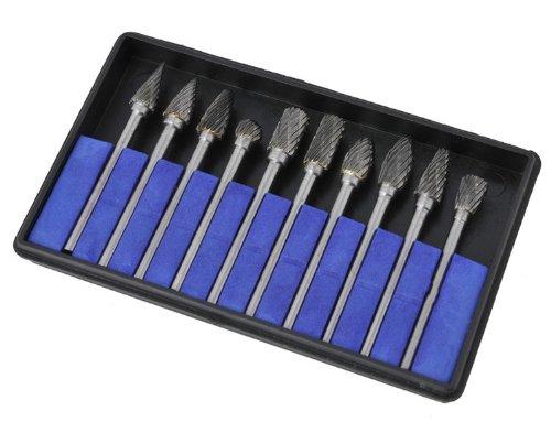 eBoTrade 10 Pieces Tungsten Carbide Rotary Burr SET 18 Shankdouble Cut Carbide Rotary Burr Set with 3mm Shanktungsten Carbide Single Cut Rotary Burr SET 18 Shank Fit Dremel