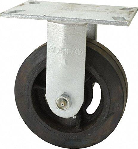 Albion 71MR05227R Heavy Duty Rigid Caster 5 Diameter Mold-On Rubber on Cast Iron Wheel Radial Bearing 2 Tread Width 5 L x 4 W Plate 450 lb Capacity
