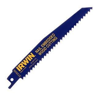 5 Pack Irwin 372156P5 12 x 6-TPI Bi-Metal Nail Embedded Wood Cutting Reciprocating Saw Blades 5 per Package