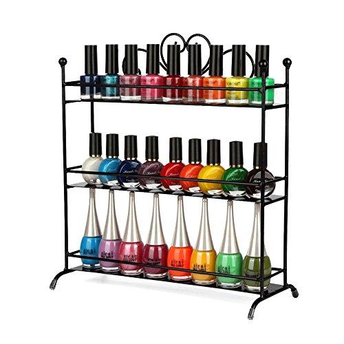 Dazone 3 Tiers Nail Polish Rack Metal Nail Polish Organizer Shelf Rack Table Top Display Rack Stand Black