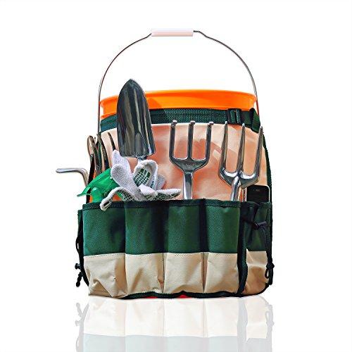 GardenHOME 5 Gallon Garden Bucket Caddy Apron For Carrying Garden Tools Tool Organizer