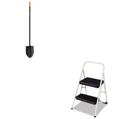 KITCSC11135CLGG1FSK96685935J - Value Kit - Fiskars Long-Handle Digging Shovel FSK96685935J and Cosco 2-Step Folding Steel Step Stool CSC11135CLGG1