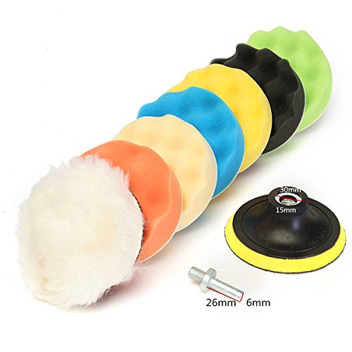 Ninth-City 8pcs 4 Car Compound Drill Polishing Polisher Buffing Buffer Waxing Sponge Pads Kit