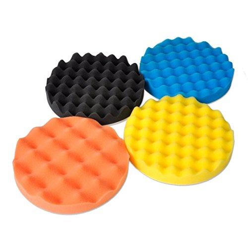 SHINA 4Pcs 7 inch Buffing Polishing Sponge Pads Kit For Car Polisher Buffer