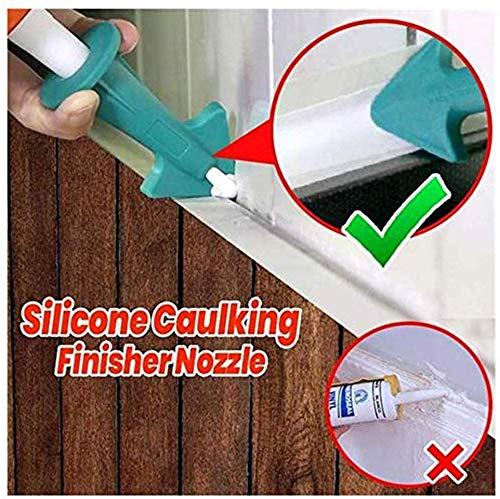 3PCS Caulking Tool Sealant Finishing Tools Silicone Sealant Caulk Nozzle Silicone Caulking Finisher Grout Scraper Tool Caulk Nozzle Scraper Set Reusable Caulk Remover Sealing Caulking Tool Green