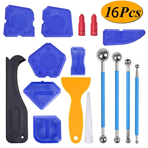 BUYGOO 16Pcs Caulking Tool Kit Silicone Sealant Finishing Tool Blue  Caulk Finishing Tools Metal ball Tile Floor Joint Repair Kit for Bathroom Kitchen