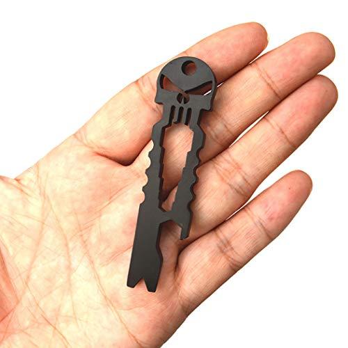 Nurbo Multi-function Skull EDC Tool Pocket Stainless Steel Key Ring Bottle Opener Black