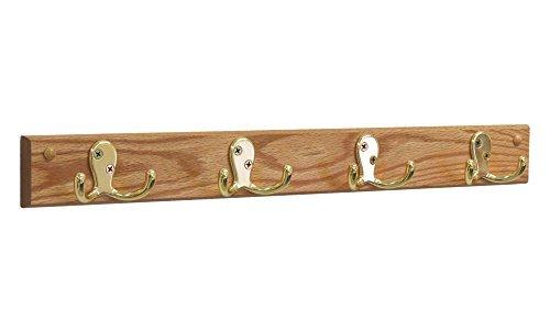 Wooden Mallet 4 Double Prong Hook RailCoat Rack BrassLight Oak