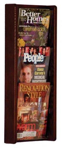 Wooden Mallet AC26-3 Stance Oak Acrylic 3-Pocket Magazine Rack in Dark Red Mahogany