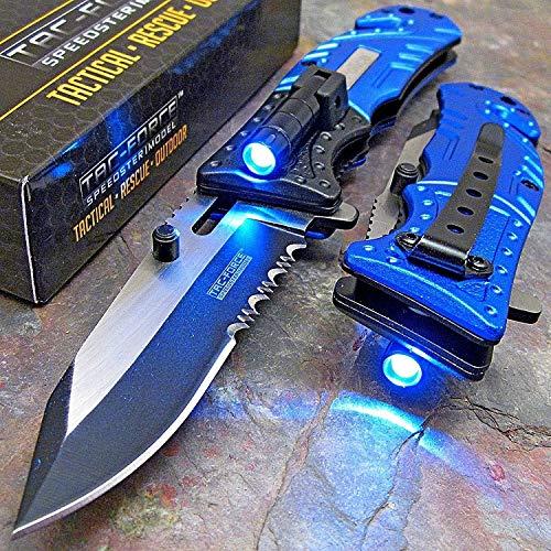 TAC Force Blue Police Assisted Open LED Tactical Rescue Pocket Knife Original