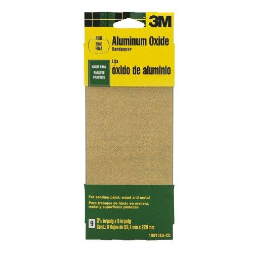 3M 19015ES-CC 3-23 by 9-Inch Fine Grit Aluminum Oxide Paint Wood Metal Sandpaper 9-Pack