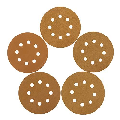 Makitoyo 5 8 Hole Hook and Loop Sanding Discs Sand Paper 6080120150220 Grits 105 pcs Mixed PackedGold- 5-inch with 8-Holes Dustless Hook and Loop Random Orbital Sander Sandpaper