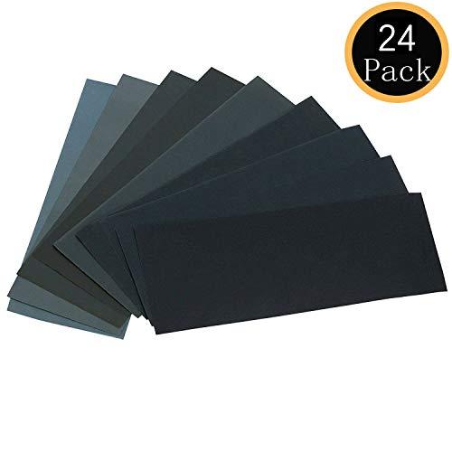 24PCS Sand Paper Variety Pack Sandpaper 12 Grits Assorted for Wood Metal Sanding Wet Dry Sandpaper 1201501802403204006008001000150025003000 Grit
