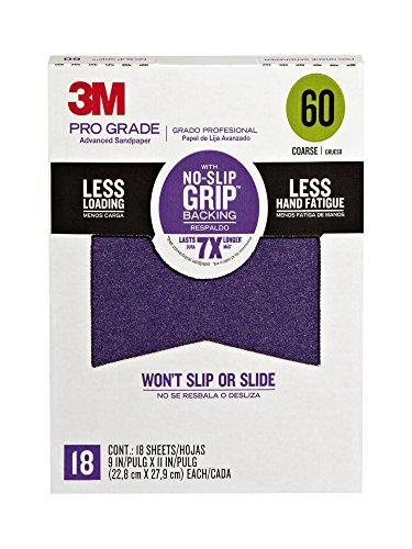 3M 26060CP-P-G Pro Grade No-Slip Grip Advanced Sandpaper 9-Inch x 11-Inch 60 Grit Pack of 18