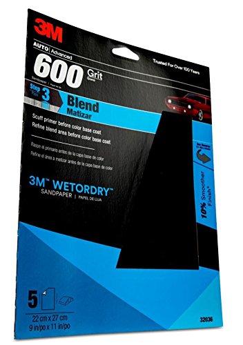 3M Wetordry Sandpaper 32036 600 Grit 9 in x 11 in 5 per pack