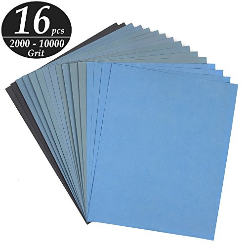 ADVcer 9x11 inch 16 Sheets Sandpaper Wet or Dry 2000-10000 Grit 8 Assortment Sand Paper Super Fine Abrasive Pads for Automotive Sanding Wood Turing Finishing Metal Furniture Polishing and More