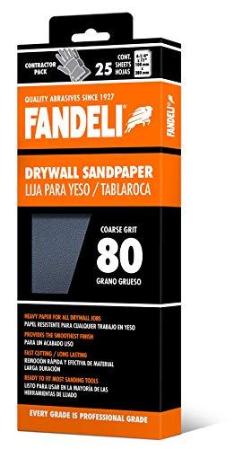 Fandeli 36571 080 Grit Drywall Sandpaper Sheets 4-14  x 11 25-Sheet