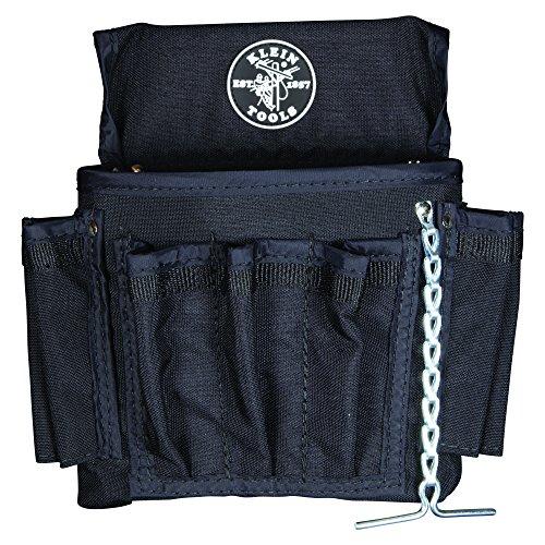 Klein Tools 5719 PowerLine 18-Pocket Black Nylon Electricians Tool PouchBlack Leather