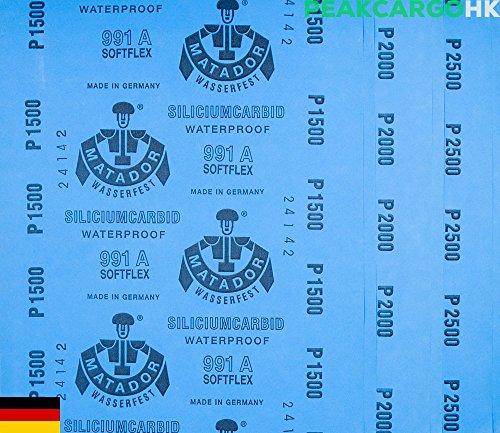 6-sheets Pack Precision Polishing Sanding WetDry Waterproof Abrasive Sandpaper -Grit 1500 2000 2500 SOFTFLEX Germany