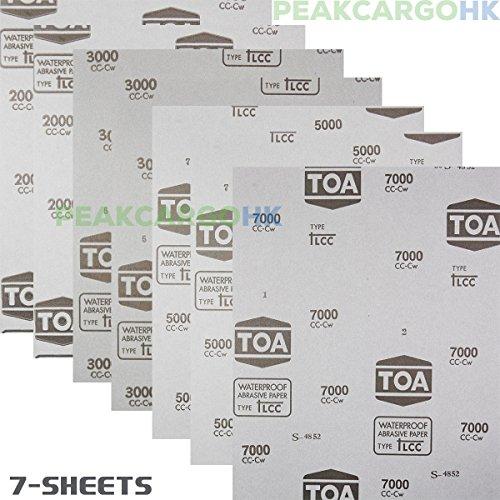7-Sheets Premium Professional Thailand Polishing Sanding WetDry Waterproof Abrasive Sandpaper -Grit 2000 3000 5000 7000 Flexible Latex Model