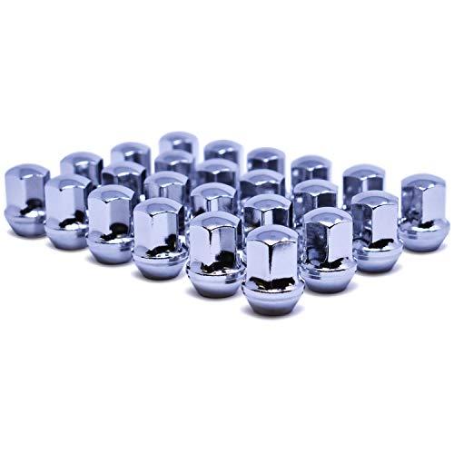 Mastiff 2024 M14x20 14mmx2 Thread Bulge Acorn Lug Nut Set 78 22mm Hex Conical 60 Degree Seat Triple Chrome Plating One-Piece Chrome 24