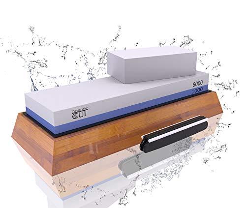 Knife Sharpening Stone Kit - 2 Side Whetstone Set 10006000 Grit Sharpening and Honing Waterstone Best Wet Sharpener for Chefs and Kitchen Knife Anti-slip Base Angle Guide Flattening Stone