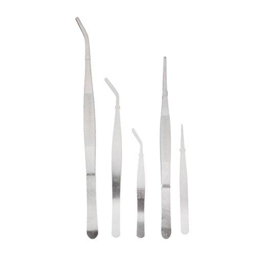 Generic Set of 5Pcs Stainless Steel Tweezers Anti Static Bonsai Gardening Tool Kit