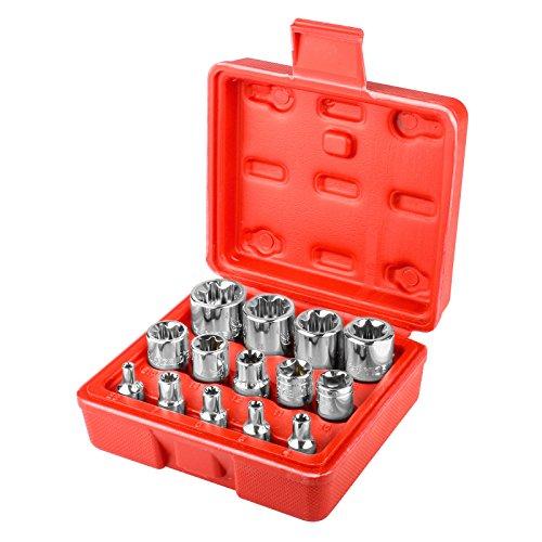 14 PCS Female Torx Bit Star-Shaped Socket Set 14 38 12 inch drive E4 - E244MM-24MM Car Repair Tool