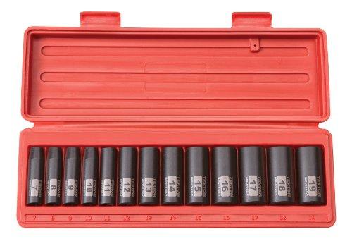 TEKTON 47925 38-Inch Drive Deep Impact Socket Set Metric Cr-V 6-Point 7 mm - 19 mm 13-Sockets