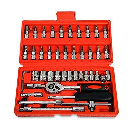 Studyset 46Pcs14in Car Motorcycle Repair Tool Ratchet Wrench Set Drive Socket Spanner Kit Batch Head Screwdriver Socket Set DIY Toos
