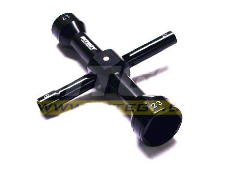 Integy RC Hobby C22774BLACK Quad Hex Socket Wrench 7mm  8mm  17mm  23mm Size