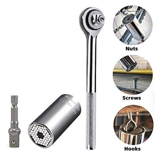 Universal Socket Grip Adapter LEBERNA 3 PCS with Wrench  Multi Functional Sockets Set Ratchet Power Drill Bit 14-34 7mm-19mm Professional Repair Tools Gifts Dad Men Fathers Husband DIY Handyman