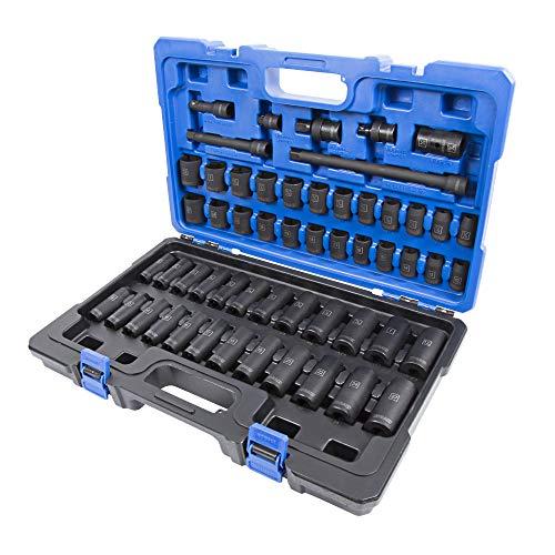 Kobalt 856843 55-Piece 12-Inch Drive Deep and Shallow Impact Socket Set InchMetric