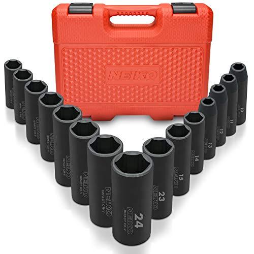 Neiko 02474A 12 Drive Deep Impact Socket Set 15 Piece  6 Point Metric Sizes 10-24 mm  Cr-V Steel